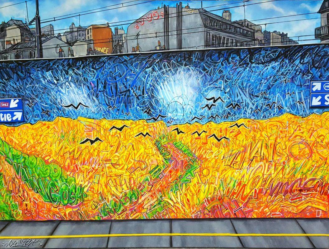 Nowart, «Champ de Corbeaux. Dans La Ville. D'après Van Gogh», 2018, acrilico, pennarello e spray su tela, 110x150 cm, courtesy artista.