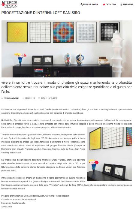 Articolo uscito su Interior Art Design Magazine sul Loft San Siro, consulenza artistica Vera Canevazzi