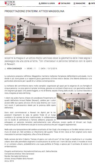 Articolo su Attico Maggiolina uscito su Interior Art Design Magazine. Progettazione architettonica Nomade Architettura, consulenza artistica Vera Canevazzi.